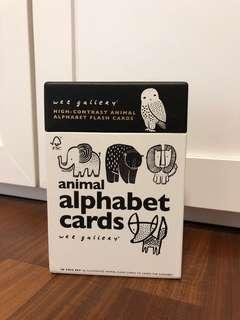 Wee Gallery Animal Alphabet Flash Card Black White
