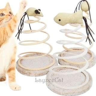 [Ready Stock] CT034 Coil Spring with Plush Cat Toy