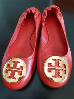 Tory Burch Reva Flats Bnew in Box in Orchid Color with Massai Red Gold Logo Size US 6.5