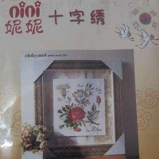 Paket sulam kristik/cross stitch. Bunga mawar