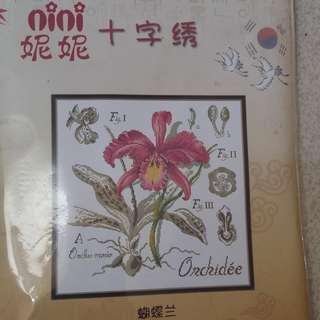 Paket sulam kristik/cross stitch. Bunga Anggrek