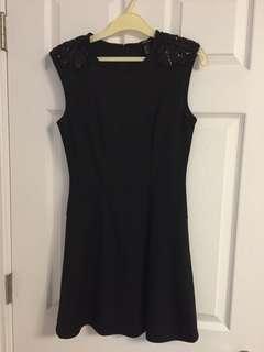 Black beaded shoulder dress