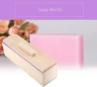 RECTANGULAR SOLID DIY HANDMADE SILICONE SOAP CRAFTS MOLD WOODEN BOX WITH COVER (PURPLE) 900G