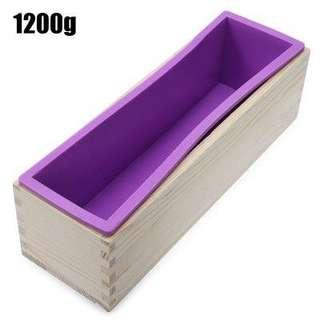 1200G RECTANGLE SILICONE SOAP LOAF MOLD WOODEN BOX DIY MAKING TOOL (PURPLE) 1200G