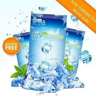Alcohol Free OMAX Icy Mint Wet Wipes