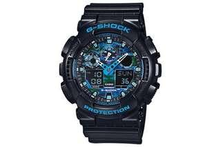 100% Authentic Casio Gshock Blue Camo GA100CB Brand New with FREE DELIVERY 📦 GA100 Unisex Camouflage