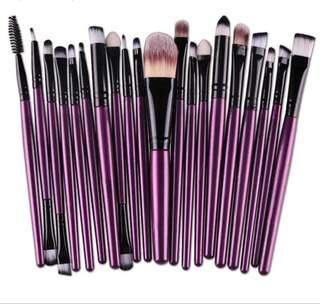 20 Pieces Purple Makeup Brushes
