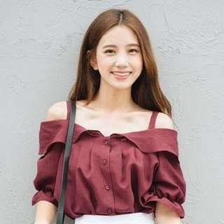 Mixxmix Ruffle Collared Button Blouse in Wine