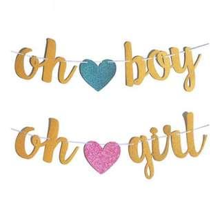 Oh Boy / Oh Girl Gender Reveal Banner