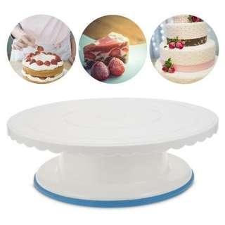 Plastic Round Cake Turntable Rotating Stand (WHITE)