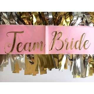 Team Bride Satin Sash (Blush Pink)