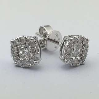 18K白金耳環 51份鑽石 18K Withe gold Earrings 0.51ct Diamond