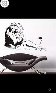 ✔INSTOCK Domineering big lion art stickers Living room study personalized decoration waterproof removable wall stickers
