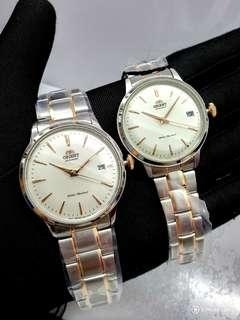 * FREE DELIVERY * Brand New 100% Authentic Orient Bambino Couple Pair Watch Automatic Vintage Design White & Rose Gold Index paired with Metal Bracelet