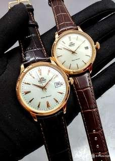 * FREE DELIVERY * Brand New 100% Authentic Orient Bambino Couple Pair Watch Rose Gold Case on White Dial Automatic Leather Strap Watch