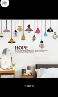 ✔INSTOCK Creative multicolored chandelier wall stickers living room bedroom wall stickers TV background painting aisle wall decorations corridor wall sticker decals self-adhesive