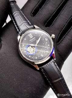 * FREE DELIVERY * Brand New 100% Authentic Orient Galaxy of Stars Black Dial Automatic Watch on Leather Strap RA-AG0019B