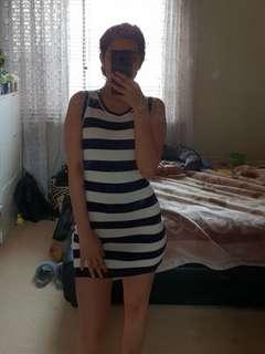 Bodycon blue and white dress