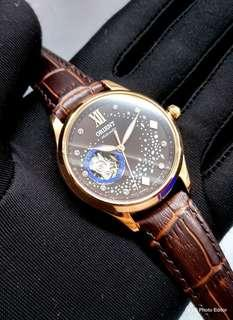 * FREE DELIVERY * Brand New 100% Authentic Orient Galaxy of Stars Rose Gold Automatic Lady's Dress Watch on Leather RA-AG0017Y