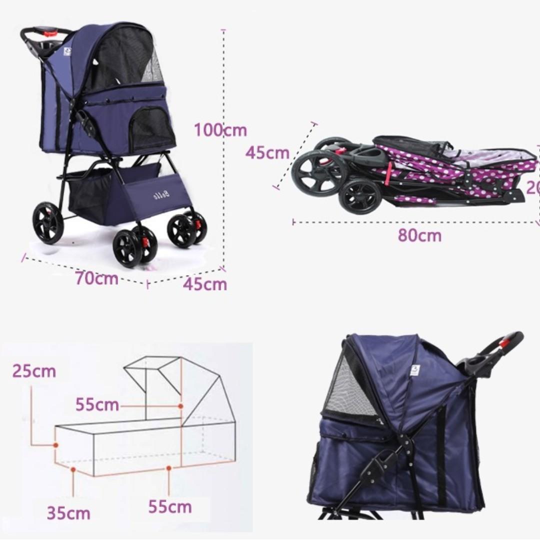 【全新*有10種款式選擇】淨色波點輕便可折接疊寵物手推車小狗貓咪籠四輪戶外出街睇獸醫生曬太陽  Pet Trolley Bag Rolling Pet Travel Carrier Pet Carrier with Wheels