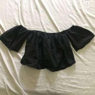 something borrowed black off shoulder top