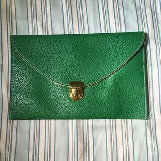 NEW Green Envelope Clutch
