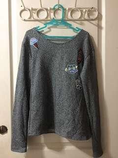 Glitter pullover with patches