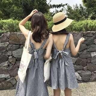 Vintage Style Korean Gingham Dress