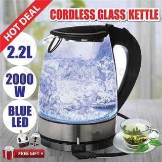 KENWOOD Cordless Electric Glass Jug Kettle LED Light 2000W 2.2L Home