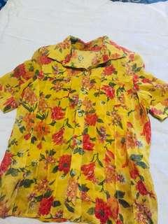 Floral yellow blouse