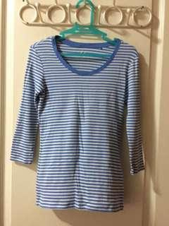 Uniqlo blue striped top