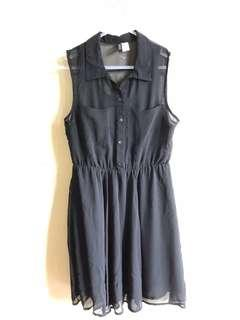 H&M black chiffon dress New