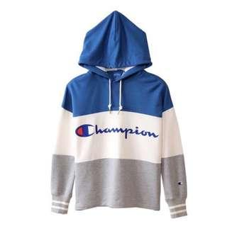 Champion Colorblock Tri Color Hoodie ( blue white grey )