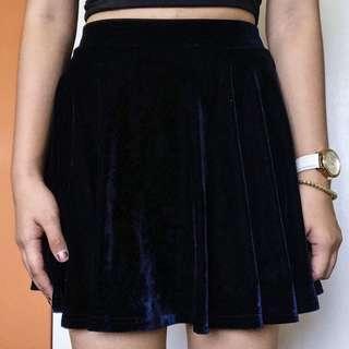 NAVA Navy Blue Velvet Skater Skirt