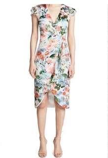 Alice + Olivia Silk floral wrap dress