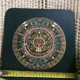 "AZTEC MEXICAN CALENDAR ( SUN STONE) 10"" x 10"""