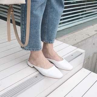 🚚 正韓簡約低跟白色便鞋 miyuki Winnie korea