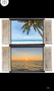 ✔INSTOCK 6 Designs. $13 Each Mediterranean 3D fake window/Sunset sea coconut tree beach landscape fake wood window sticker bedroom dining room living room sofa restaurant decoration wall sticker ( All Designs Raw sticker size 90*60cm )