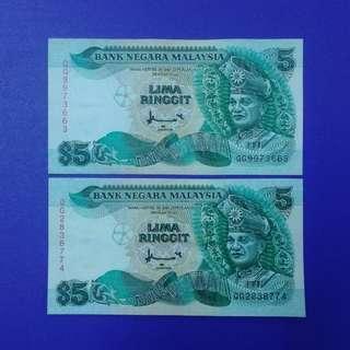 JanJun $5 7th Printer TDLR Siri 7 Ahmad Don 2pcs RM5 Banknote