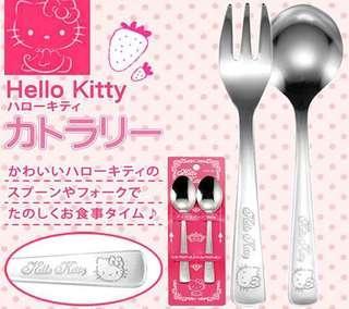 🚚 正版授權 日本 三麗鷗 HELLO KITTY 凱蒂貓 不鏽鋼叉子 環保叉子 餐具叉子 叉子 二入