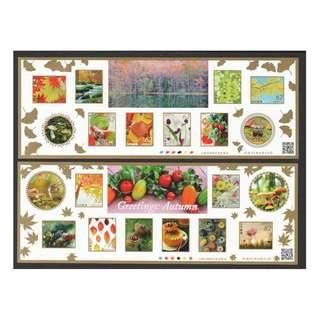 🚚 JAPAN 2018 AUTUMN GREETINGS FLOWERS & FRUITS 62 & 82 YEN 2 SOUVENIR SHEETS OF 10 STAMPS EACH IN MINT MNH UNUSED CONDITION