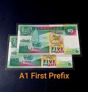 🇸🇬 Singapore Ship Series $5 Banknote~A1 First Prefix 2pcs Consecutive Pair