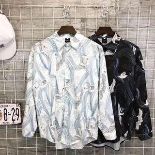 🚚 原宿復古仙鶴印花日系街頭長袖休閒寬鬆襯衫