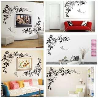 ✔INSTOCK Romantic butterfly flower vine living room sofa TV background wall decorative wall sticker removable layout stickers