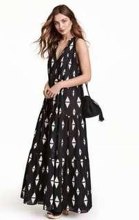 H&M 100% Cotton Tribal Pattern Maxi Dress - Size 14 (new with tags)