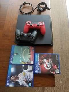 ps4 slim 500gb + 2 controlers + 3 games