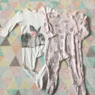 BLUEZOO 2 Pack Rabbit Sleepsuits