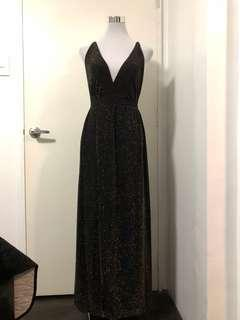FOR RENT: Black and Gold Glittery Sexy Gown