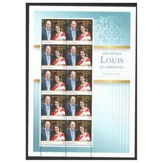 🚚 AUSTRALIA 2018 BIRTH OF PRINCE LOUIS SHEETLET SOUVENIR SHEET OF 10 STAMPS IN FINE USED CONDITION