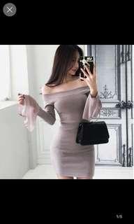 Grey off shoulder trumpet sleeve dress